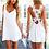 Thumbnail: White Sleeveless Summer Beach Floral Plain Mini Dress 8199