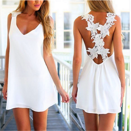 White Sleeveless Summer Beach Floral Plain Mini Dress 8199