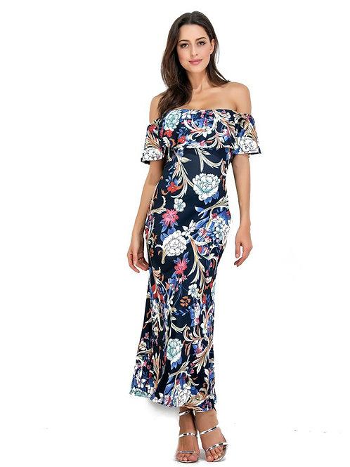 Ruffled Off Shoulder Printed Pattern Long Dress 000108