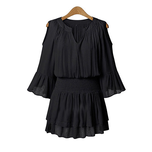 Plus Size Fashion Chiffon Cold Shoulder Dress UK 8-16 9006