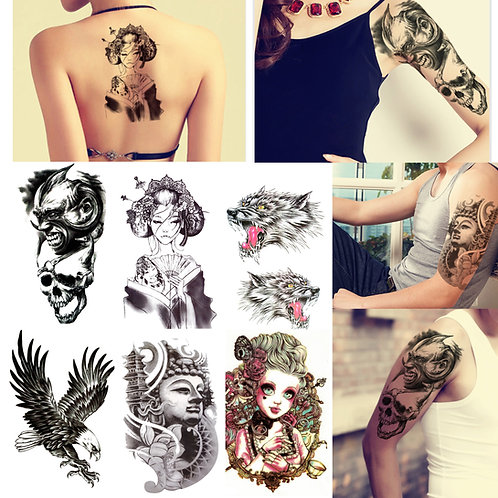 Large Black Colour Temporary Body Tattoo Sticker