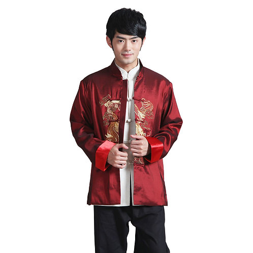 Chinese Mens Embroidered Dragon Kung Fu Suit Red