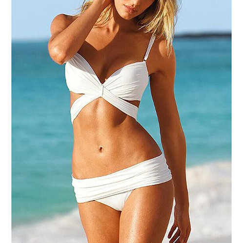 Sexy Swim Wear Costume Tie Back Bikini Set Black White 8052