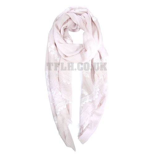 Embossed Print Spring/Summer Scarf Wrap Embroidered Print