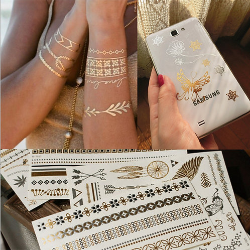 Gold Silver Temporary Metallic Body Tattoo