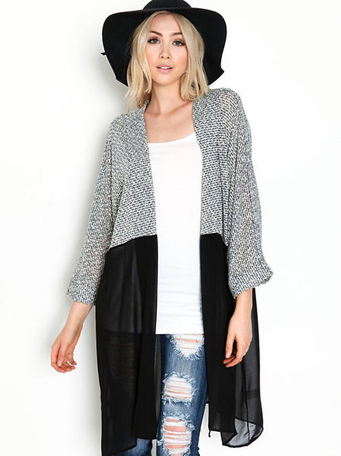 Stylish Ciffon with Crochet Cardigan 8803