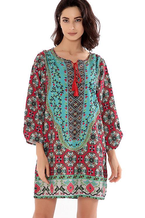 Printed Floral Swirl Summer Beach Holiday Dress HNBC0405