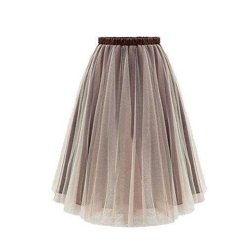 Knee Length Overlay Combo Skirt 004