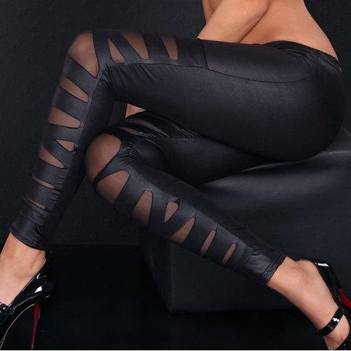 Faux Leather Mesh Cross Black Legging 1210