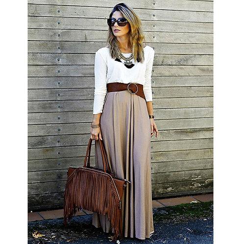 Casual Long Sleeve Maxi Dress W87