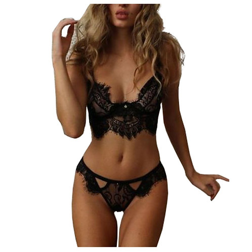 Lacy See Through Underwired Lingerie Set 4256