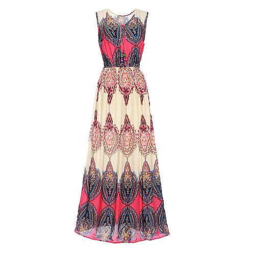 7 style Pattern Summer Sleeveless Long Dress 7071-style06