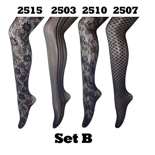 Pack of 4 Gift Set Fishnet Net Pattern Tight Set B
