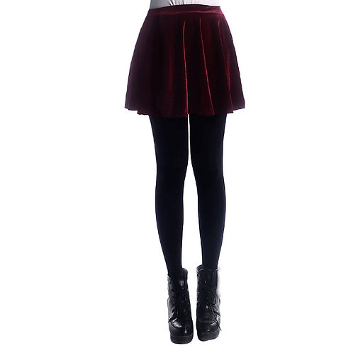 Crushed Velvet Skater Skirt 1009