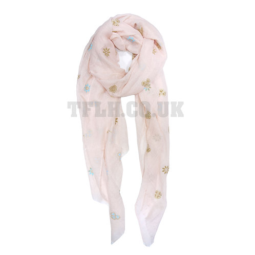 Embossed Print Spring/Summer Scarf Wrap Daisy Print