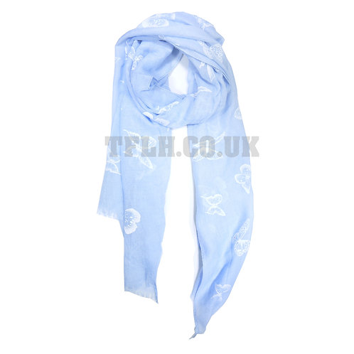 Embossed Print Spring/Summer Scarf Wrap Butterfly