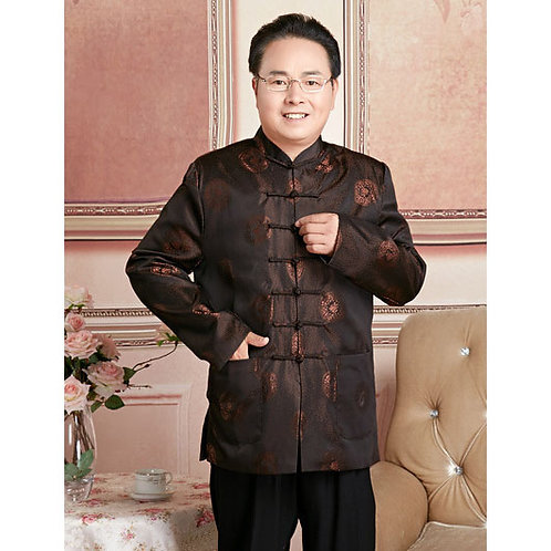 Chinese Mens Jacquard Kung Fu Suit Coffee