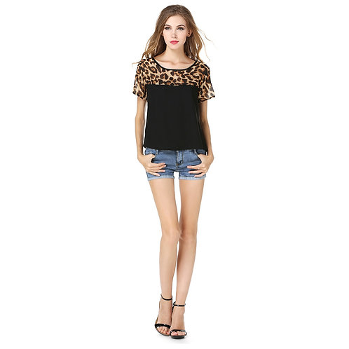 Leopard Short Sleeve Top Tee 1260