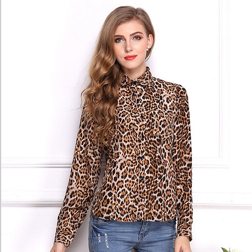Silky Leopard Long Sleeve Shirt 0912