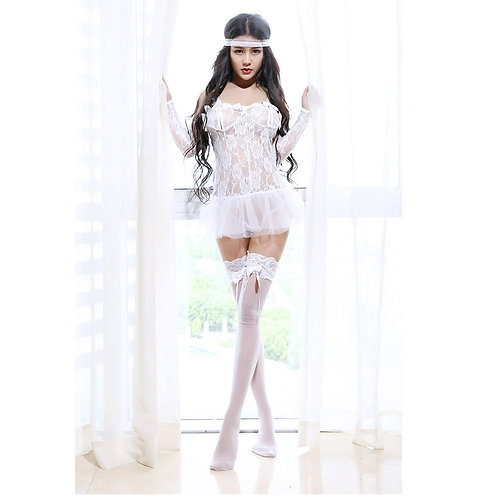 White Lacy Sexy Lingerie Dress 683