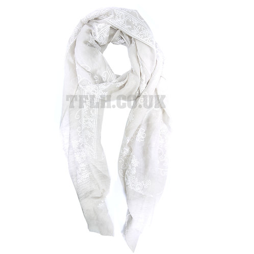 Embossed Print Spring/Summer Scarf Wrap Diagonal Flower