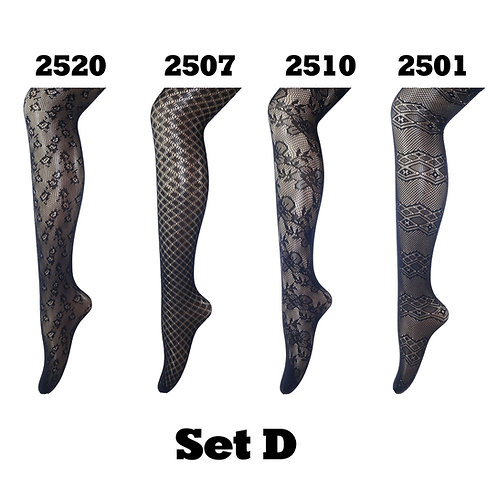 Pack of 4 Gift Set Fishnet Net Pattern Tight Set D