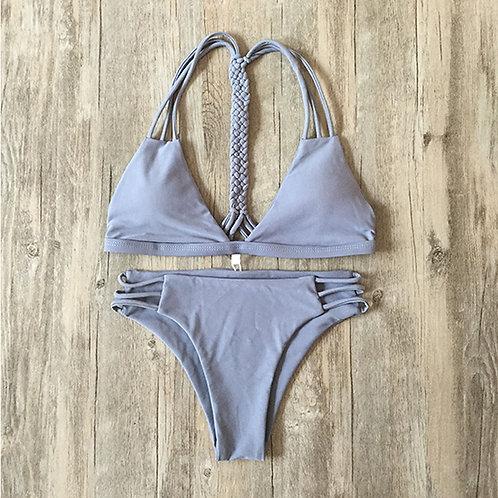 Sexy Swim Wear Costume Strappy Bikini Set Grey 8080