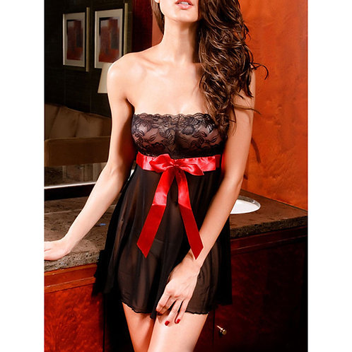 Lace Front Sexy Lingerie Dress with Silky Bow 4297