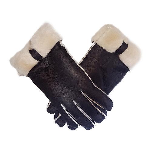 Womens Black Sheepskin Gloves with Fold Back Cuff 1703
