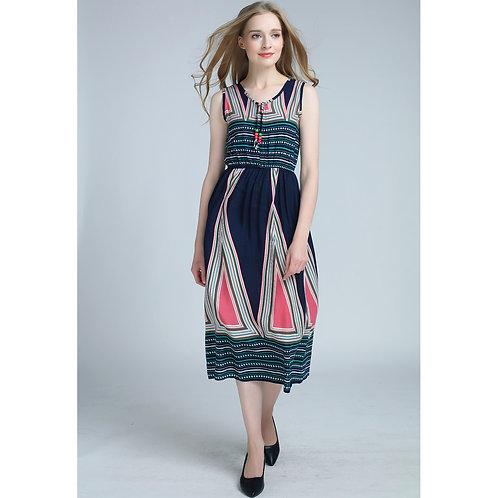 7 style Pattern Summer Sleeveless Long Dress 7071-style01