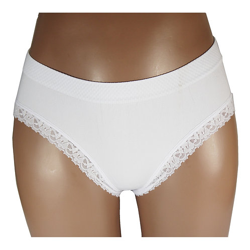 LADIES SEAMLESS PLAIN LACE BRIEF KNICKER C0023