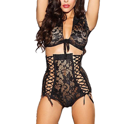 Criss Cross Lace Lingerie Set 4212