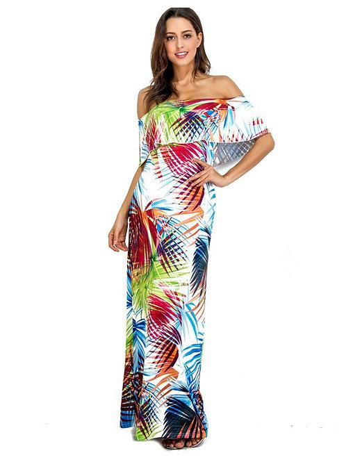 Ruffled Off Shoulder Printed Pattern Long Dress 000107