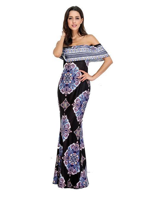 Ruffled Off Shoulder Printed Pattern Long Dress 000104