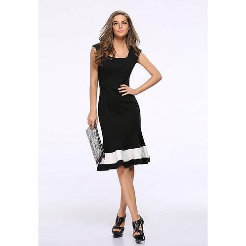 Black with White Evening Dress Knee Length 703