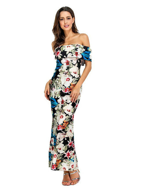 Ruffled Off Shoulder Printed Pattern Long Dress 000105