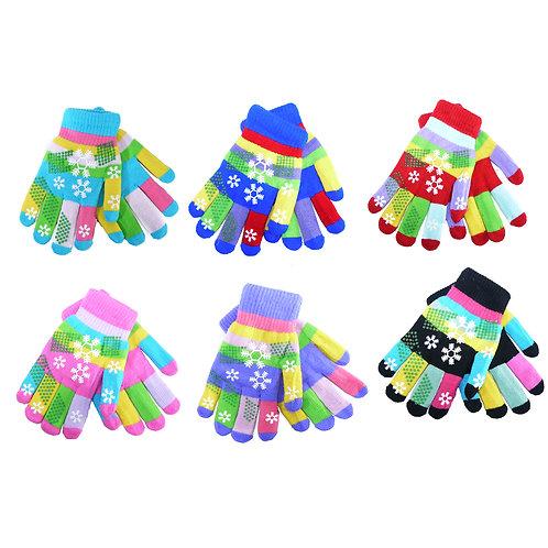 3 pack Children knit multicolour stripe gloves