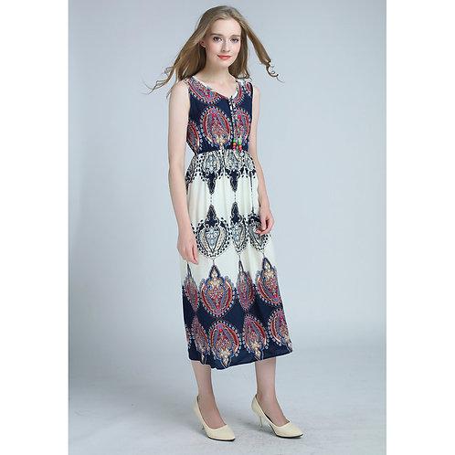 7 style Pattern Summer Sleeveless Long Dress 7071-style07