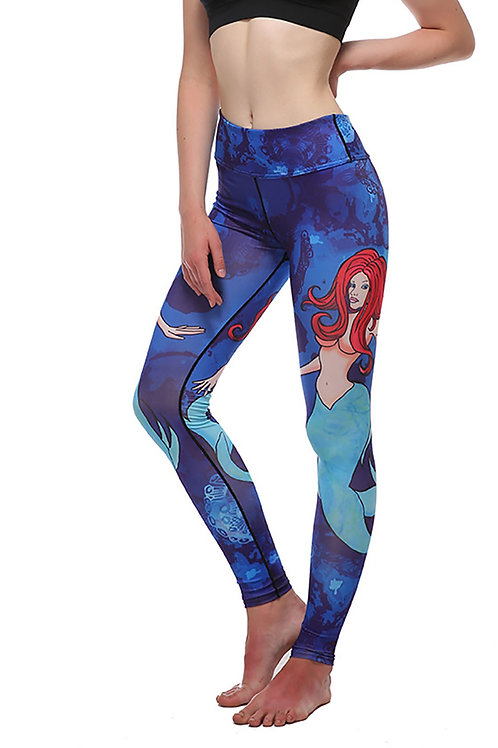 Yoga Running Fitness Fashion Quality Digital Print Mermaid Pattern Leggings 2007
