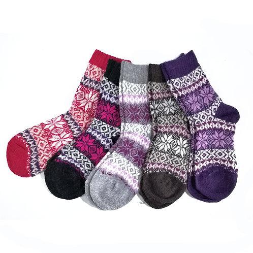10 pack Child Snowflake Fair Isle Socks 1002