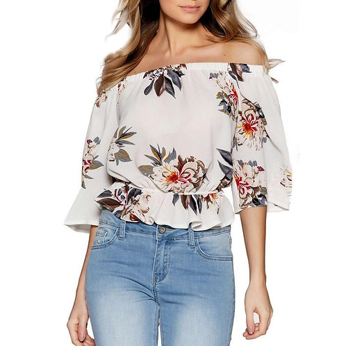 Off Shoulder Floral Casual Top 282