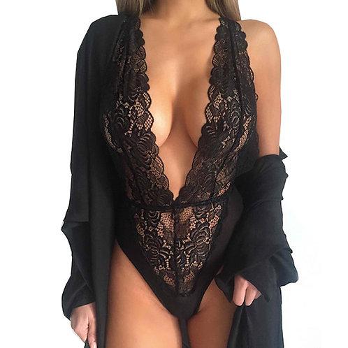Lace Plunge Lingerie Bodysuit 4253