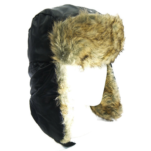 Mens waterproof black russian bomber trapper hat