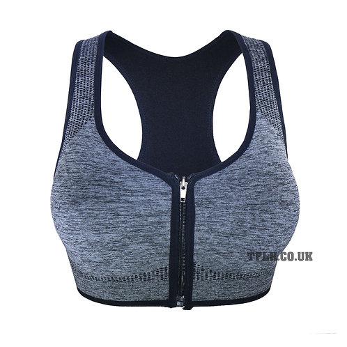 Seamless Athletic Zip Front Sports Bra Melange 0323
