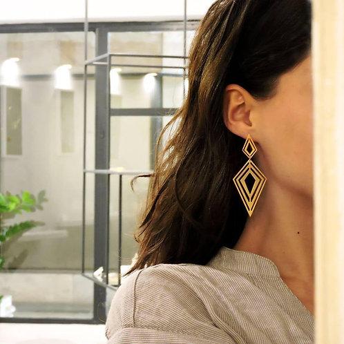 Double Fractal Rhombus Earrings