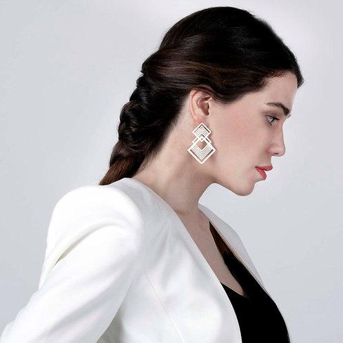 Double Fractal Statement Earrings