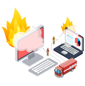 Drawn image of a fire fighters dousing flaming laptops and computers.