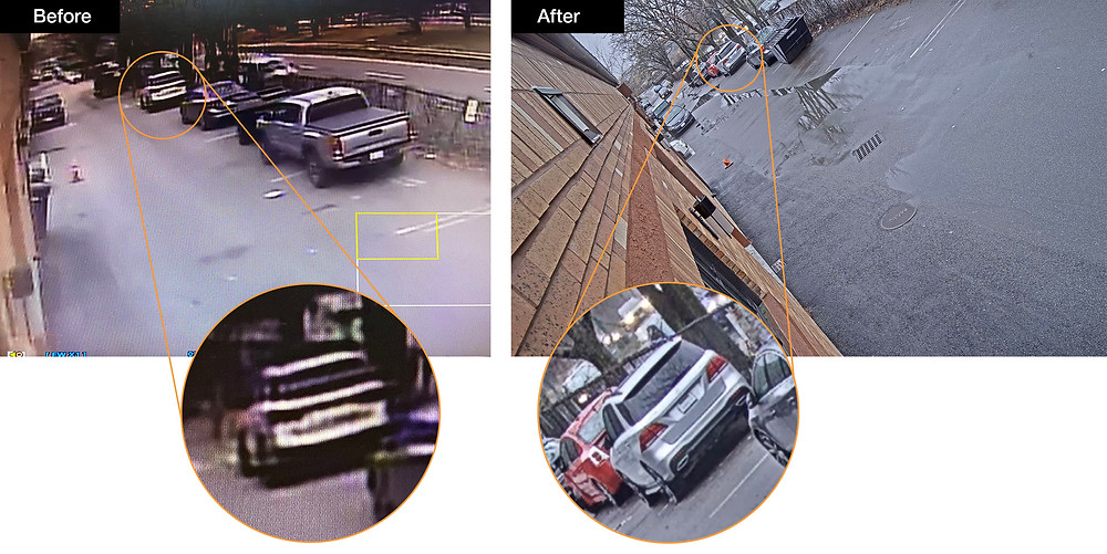 Before and after outside security camera upgrade