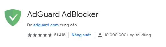 Tiện ích AdGuard AdBlocker trên Chrome Extension Web Store
