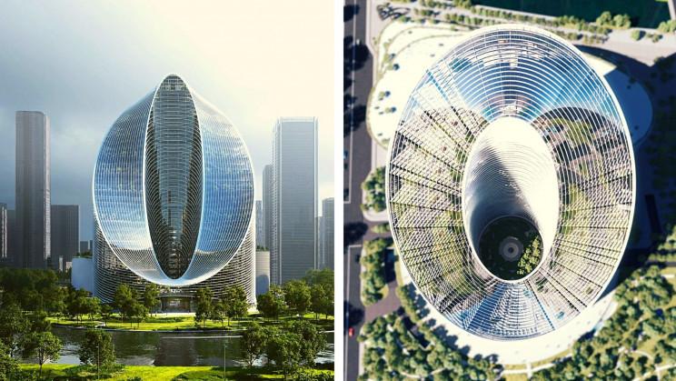 Hình ảnh trực diện và từ trên không của tòa nhà chọc trời 'vòng lặp vô cực'.